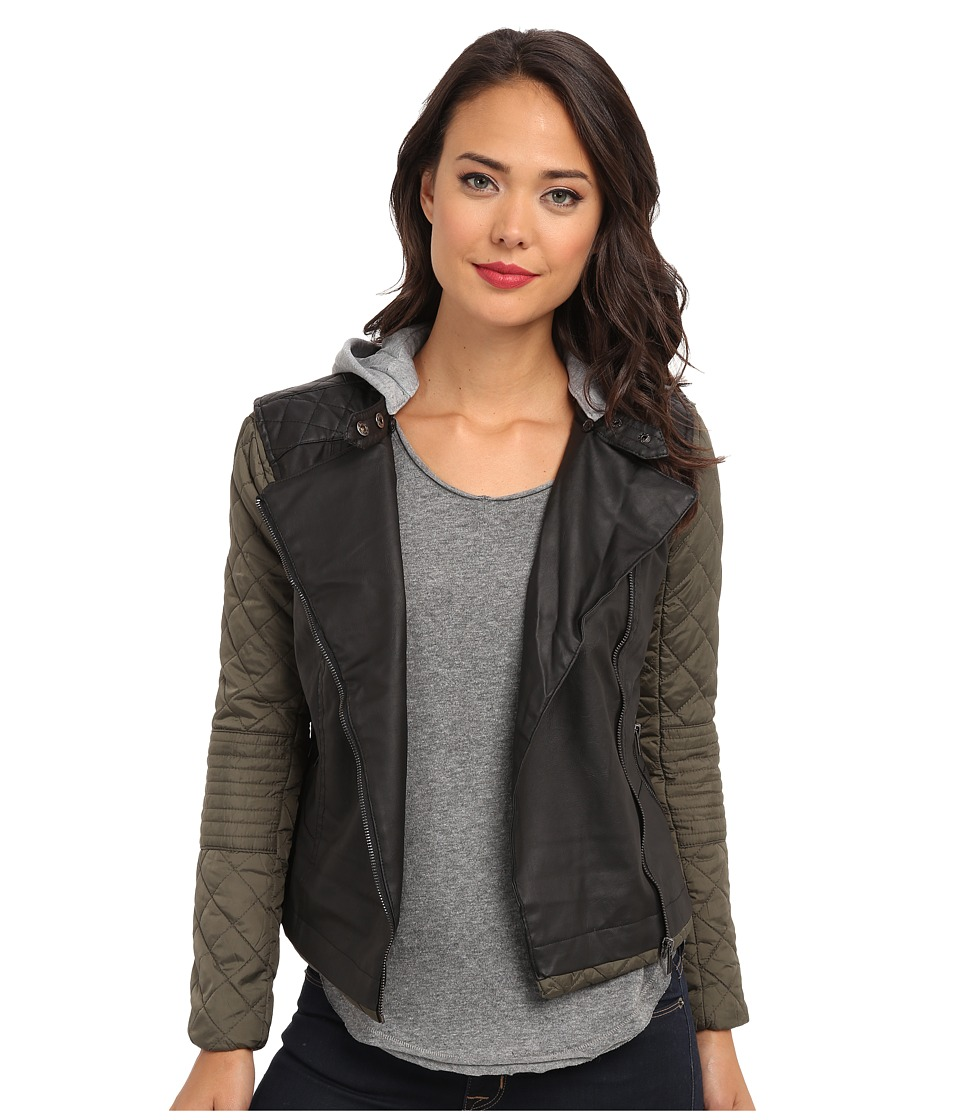 dollhouse - Side Zip w/ Detailed Jersey Hood Zip Pockets (Black/Olive) Women's Coat