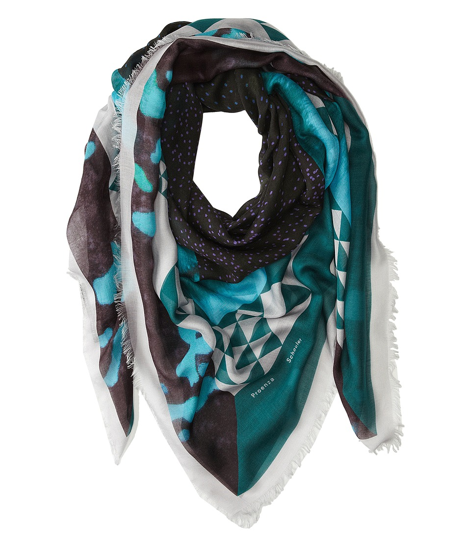 Proenza Schouler - F00138 BSP102-20546 (Green/Turquoise Framed Sky Print) Scarves