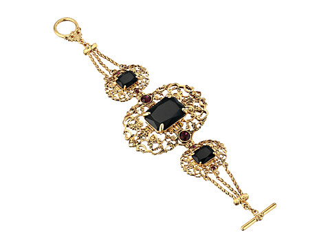 LAUREN by Ralph Lauren - Bohemian Heiress Chain w/ Filigree Metal and Faceted Stone Bracelet (Gold/Jet) Bracelet