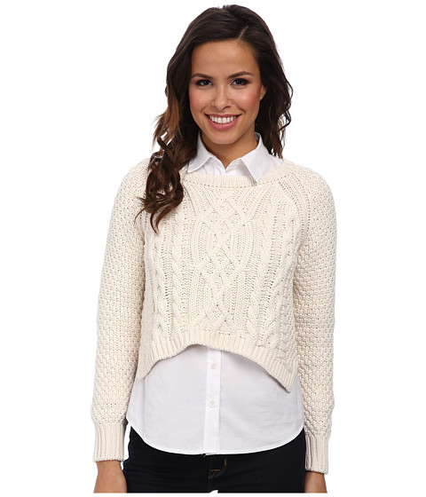 525 america - Handknit Cable Hi/Low (White Cap) Women's Long Sleeve Pullover