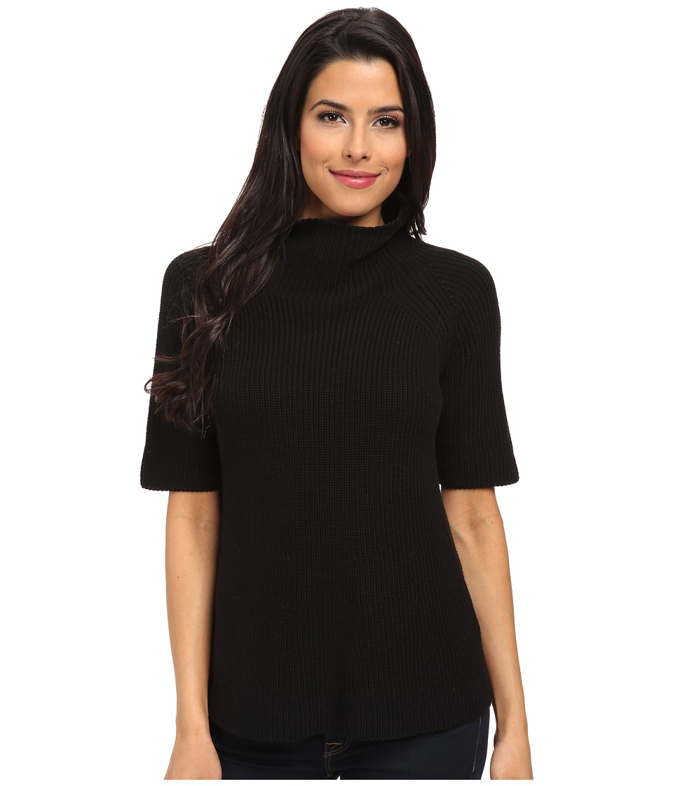 525 america - S/S Cotton A Line Mock (Black) Women's Clothing