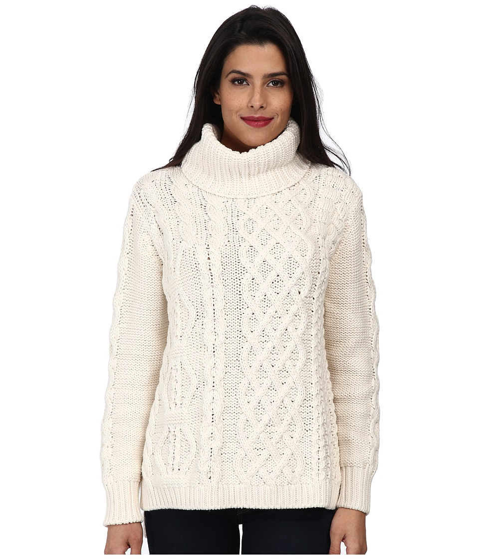 525 america - Handknit Patchwork Cable (White Cap) Women's Long Sleeve Pullover