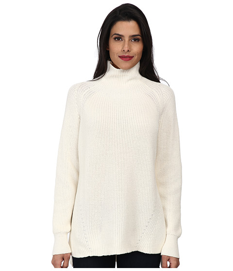 525 america - Mock Hi/Low with Metallic Leather (White Cap) Women's Long Sleeve Pullover