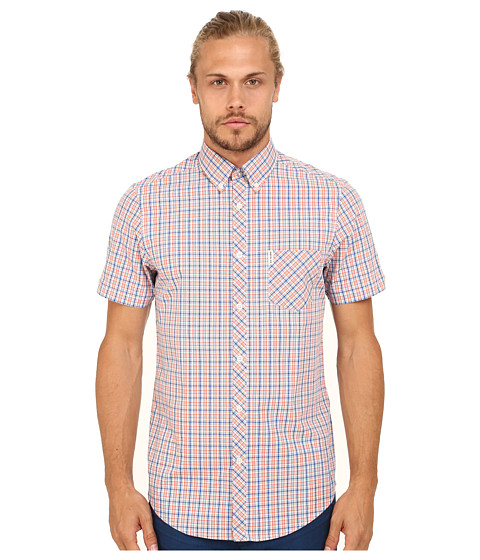 Ben Sherman - Short Sleeve Mini Check Pop (Deep Coral) Men's Clothing