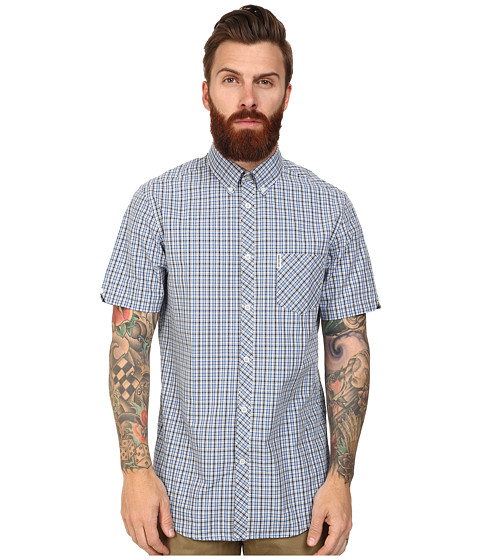 Ben Sherman - Short Sleeve Mini Check Pop (Sky Blue) Men's Clothing