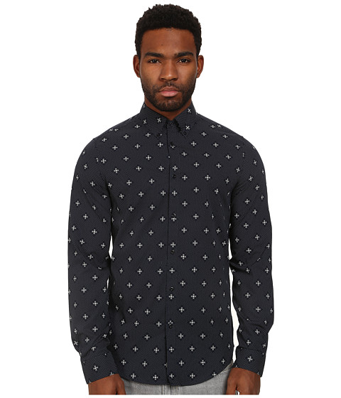 Ben Sherman - Long Sleeve Mosaic Geo (Navy Blazer) Men