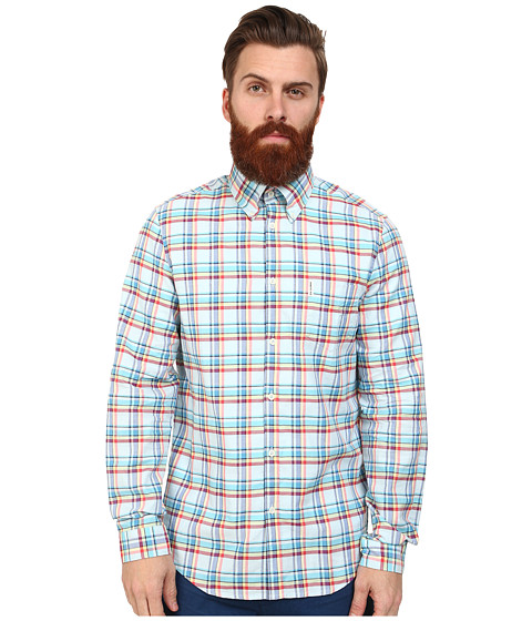 Ben Sherman - Long Sleeve Oxford Multi Check (Mineral Blue) Men's Clothing
