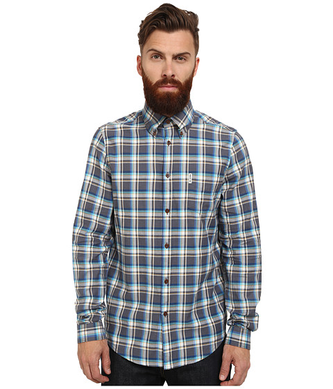 Ben Sherman - Long Sleeve Oxford Multi Check (Ash) Men's Clothing