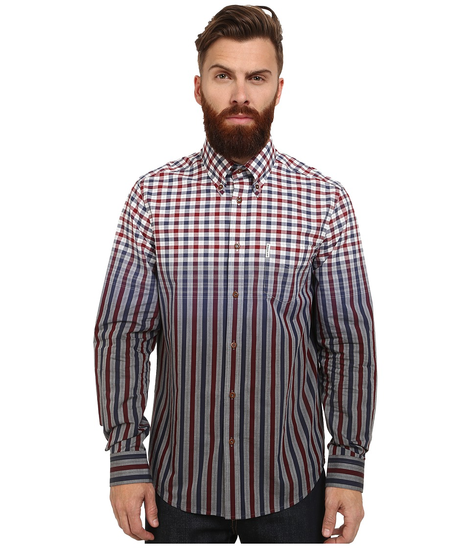Ben Sherman - Long Sleeve Engineered Check Stripe (Dawn Red) Men's Clothing