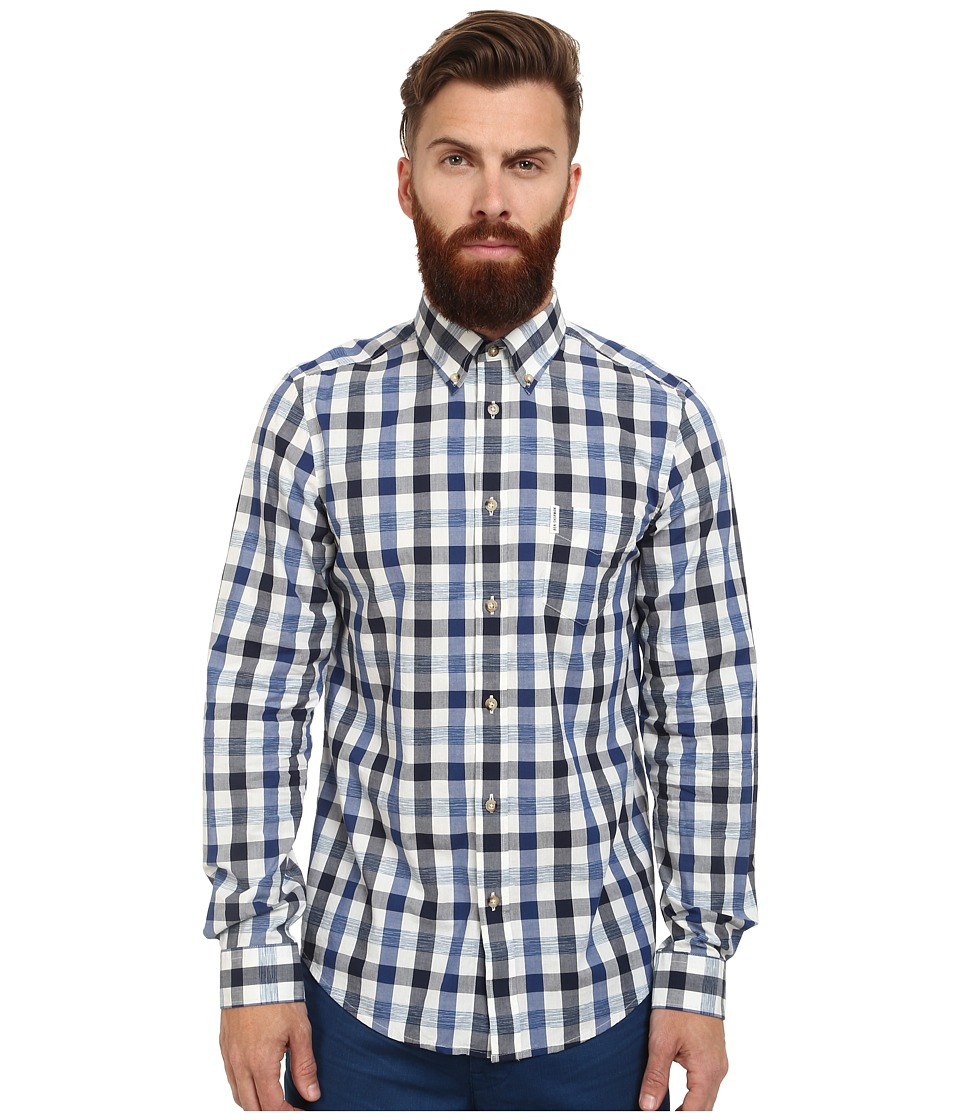 Ben Sherman - Long Sleeve Space Dye Gingham (Royal Blue) Men's Clothing