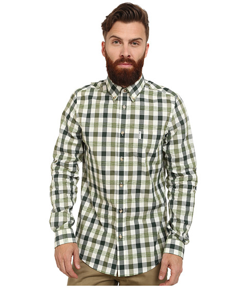 Ben Sherman - Long Sleeve Space Dye Gingham (Military Grey) Men