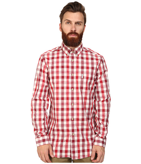 Ben Sherman - Long Sleeve Space Dye Gingham (Dawn Red) Men's Clothing