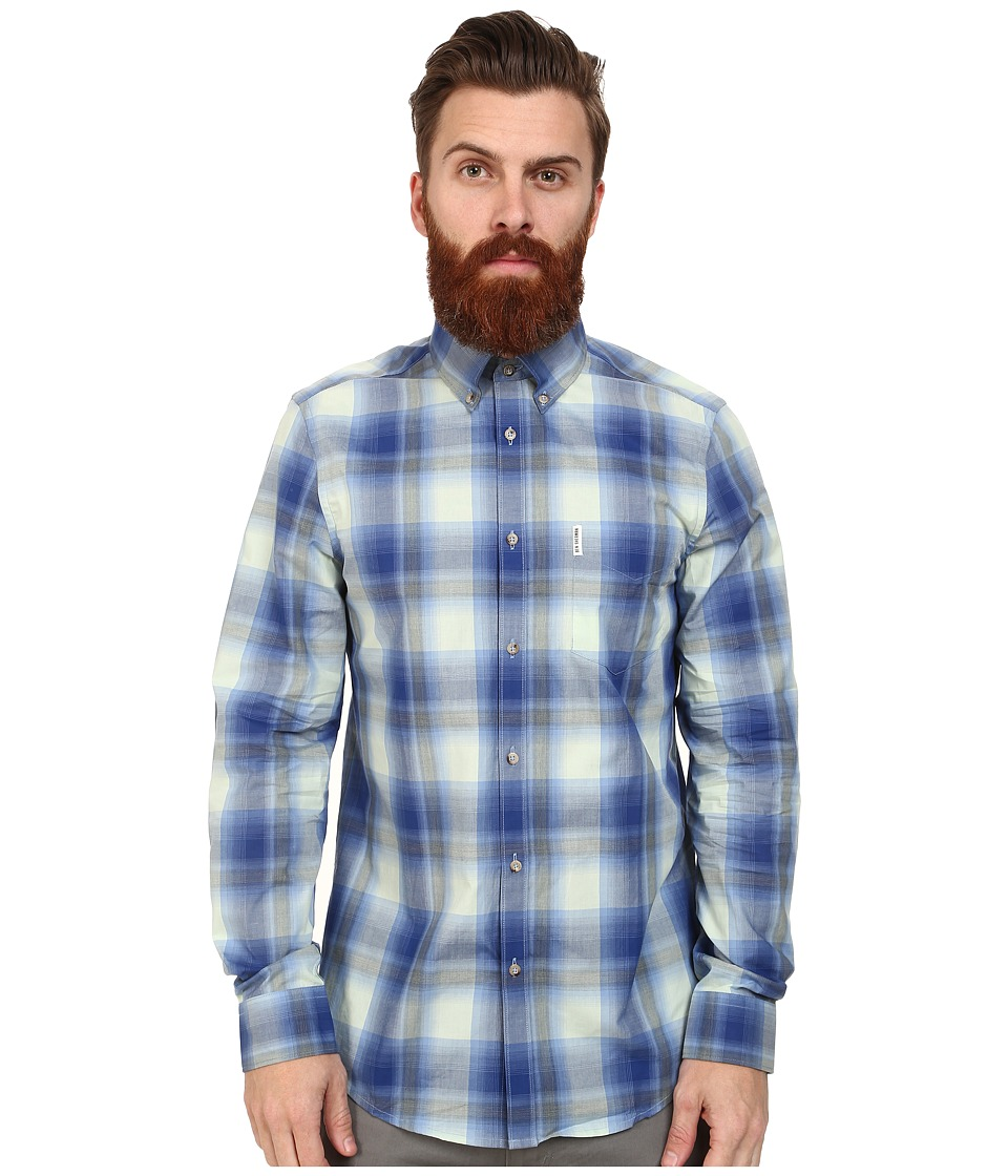 Ben Sherman - Long Sleeve Poplin Ombre Check (Spearmint) Men's Clothing