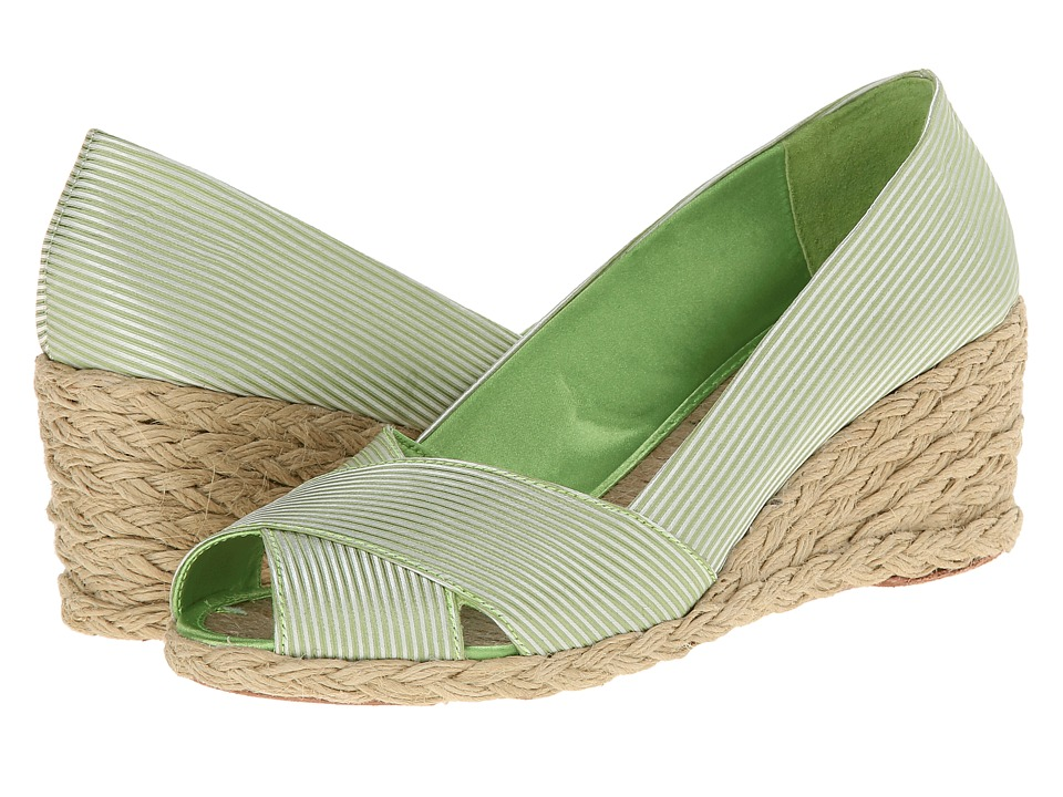LAUREN by Ralph Lauren - Cecilia (Limesatin Stripe) Women's Wedge Shoes