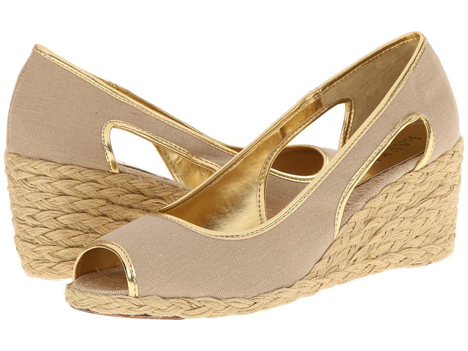 LAUREN Ralph Lauren - Charlotte (Khaki/Gold Canvas/Met Kid PU) Women's Wedge Shoes