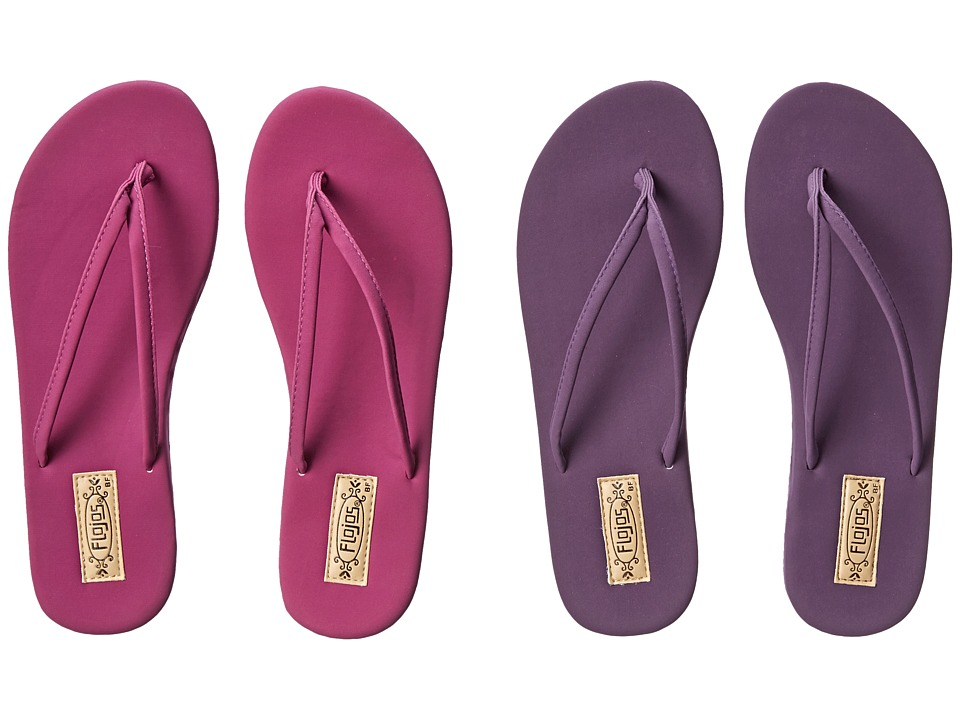 Flojos - Fiesta 2-Pair Pack (Magenta & Plum) Women's Sandals