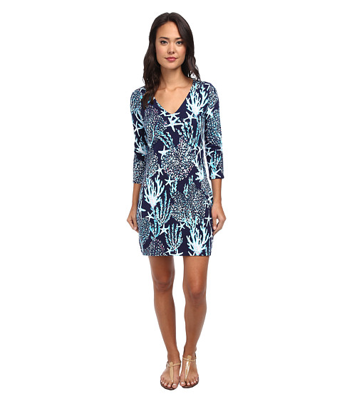 Lilly Pulitzer - Clarke Dress (Bright Navy Good Reef Small) Women's Dress