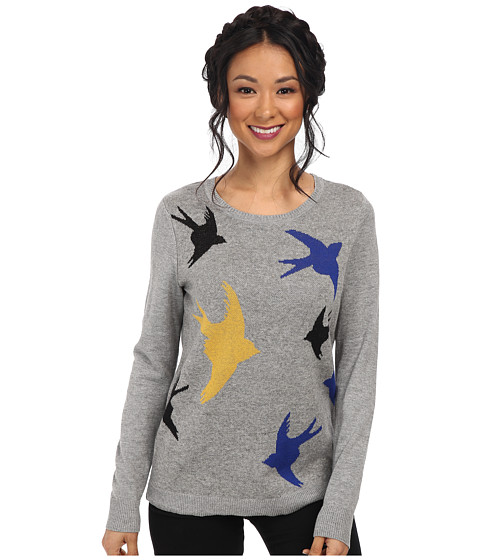 kensie - Soft Cotton Blend Sweater (Heather Grey Combo) Women's Sweater