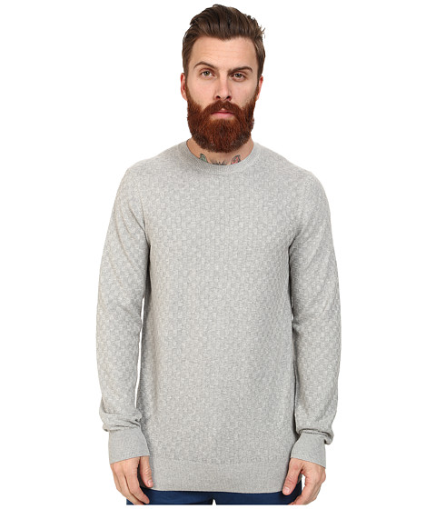 Ben Sherman - Check Crew Neck (Silver Chali) Men's Clothing