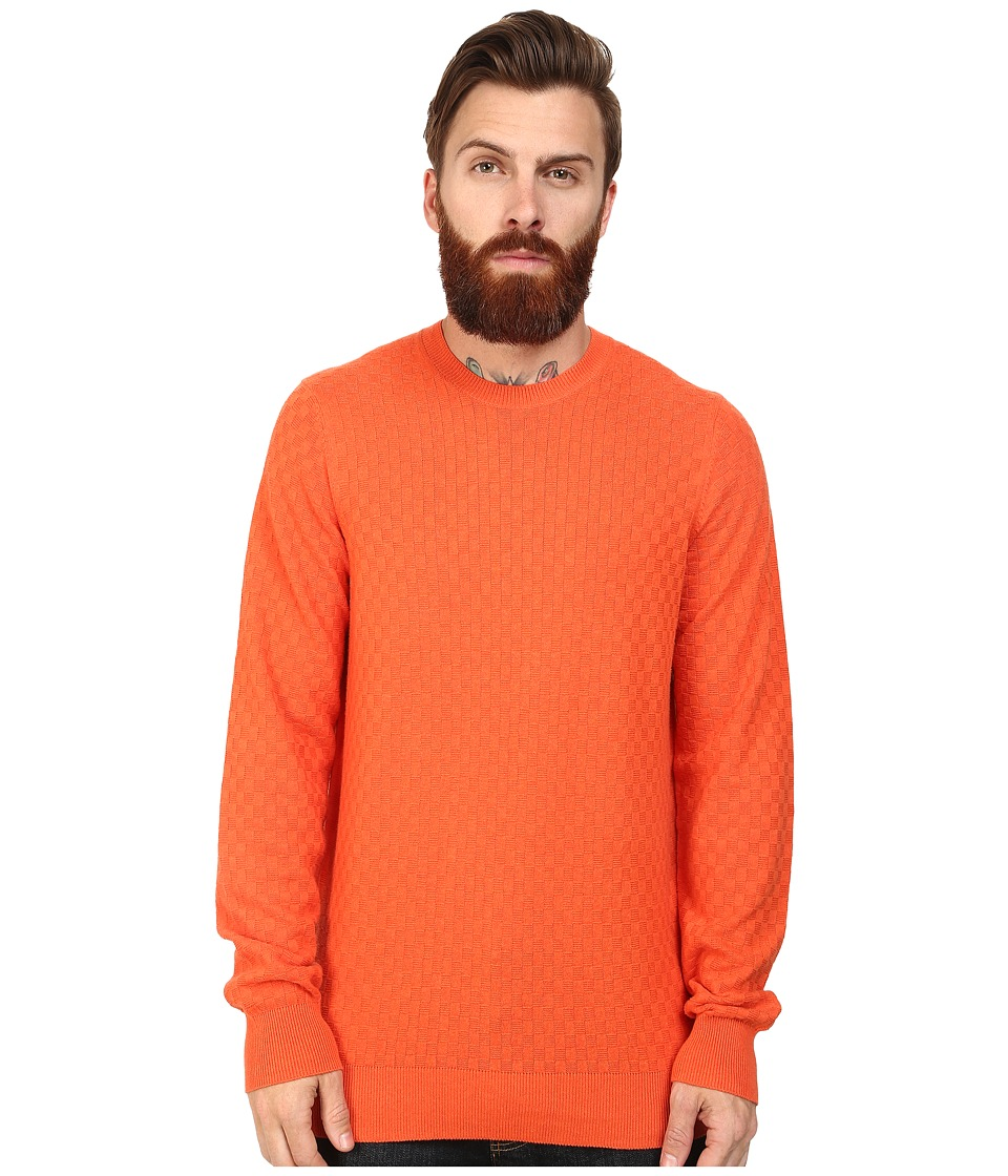 Ben Sherman - Check Crew Neck (Deep Coral Marl) Men's Clothing