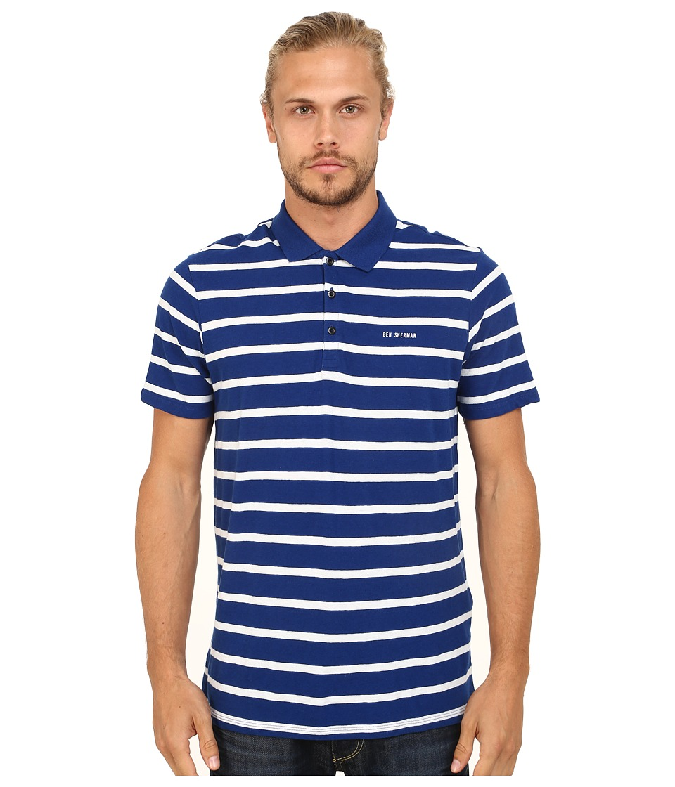 Ben Sherman - Breton Stripe Polo (Royal Blue) Men's Clothing