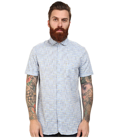 Ben Sherman - Short Sleeve Space Dye Grid Check (Sky Blue) Men's Clothing