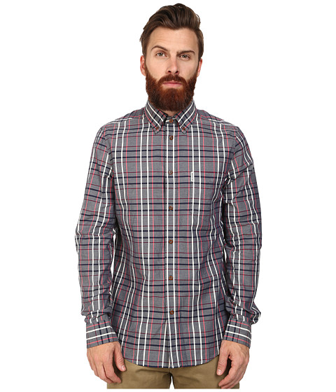 Ben Sherman - Long Sleeve Chambray Check (Medieval Blue) Men's Clothing
