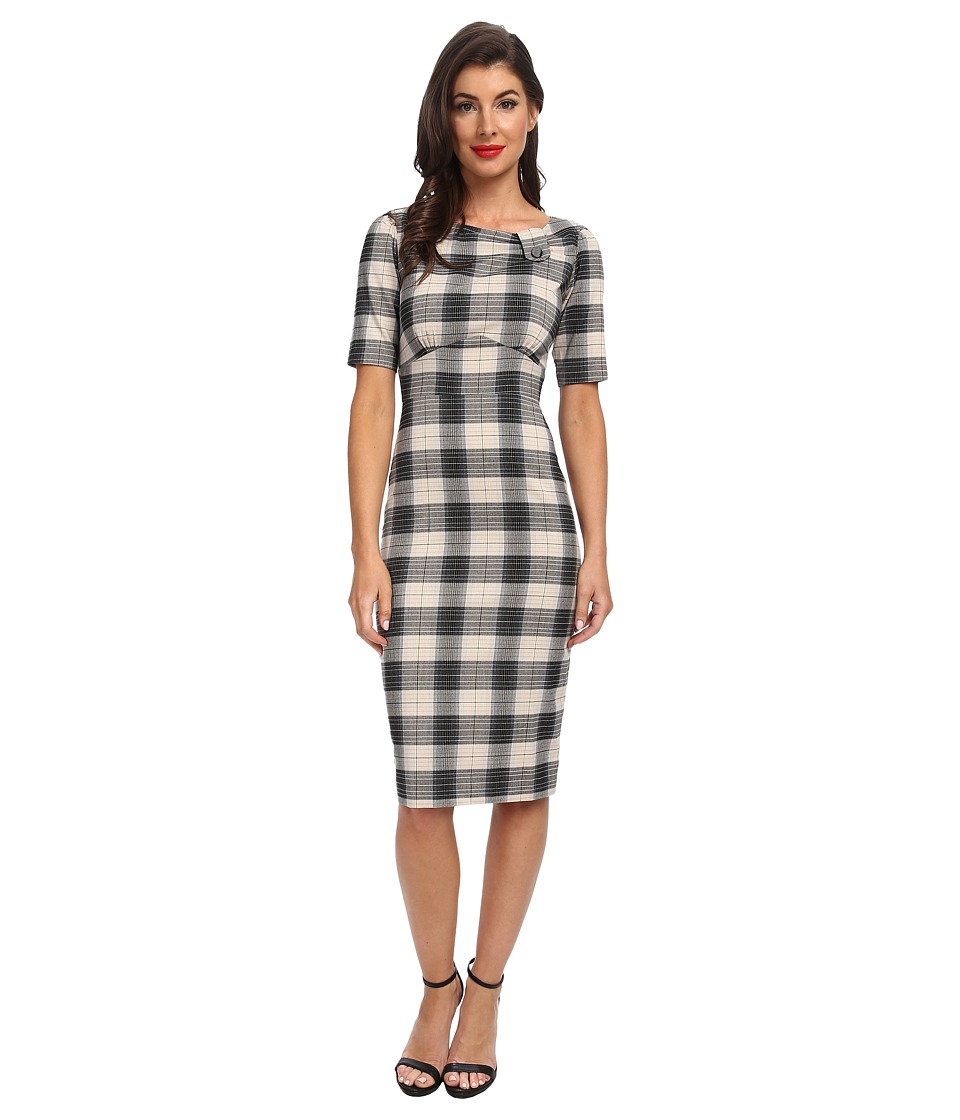 Stop Staring! - Plaid Boatneck Dress (Black Tan) Women's Dress