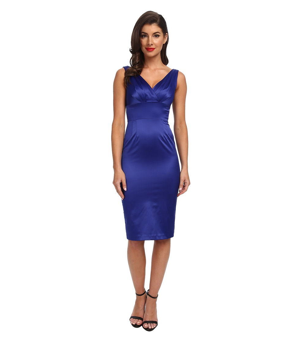 Stop Staring! - V-Neck Satin Dress (Blue Satin) Women's Dress