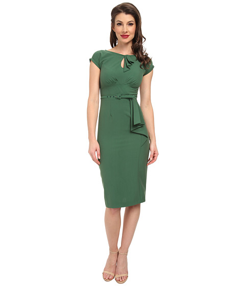 Stop Staring! - Classic Keyhole Neck Dress (Green) Women's Dress