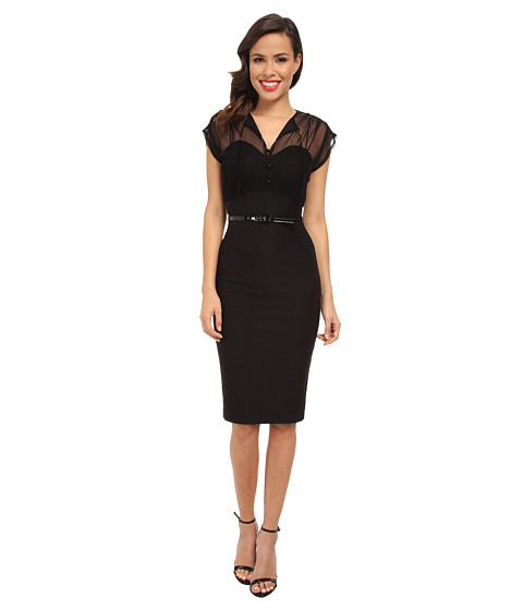 Stop Staring! - Lacetop Dress with Belt (Black) Women's Dress
