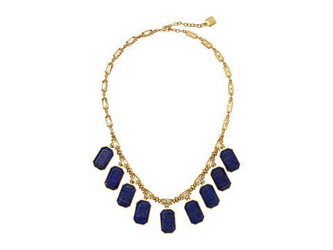 LAUREN by Ralph Lauren - Camino Real 17 Large Faceted Stones Frontal Necklace (Worn Gold/Blue/Yellow) Necklace