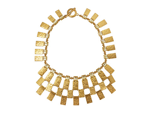 LAUREN by Ralph Lauren - Camino Real 18 Hammered Metal and Faceted Stones Drama Collar Necklace (Worn Gold/Yellow) Necklace