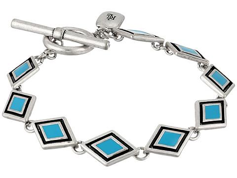 LAUREN by Ralph Lauren - Acapulco Diamond Shape Enamel Inlay Flex Bracelet (Silver/Truquoise) Bracelet