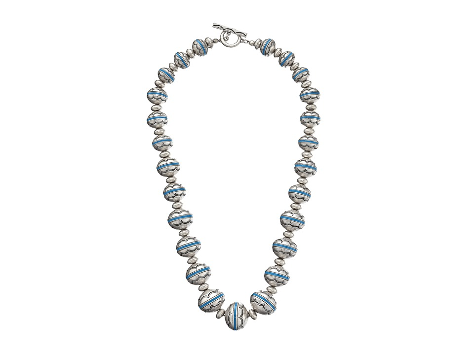 LAUREN by Ralph Lauren - Acapulco 24 Textured w/ Enamel Inlay Beads Necklace (Silver/Turquoise) Necklace