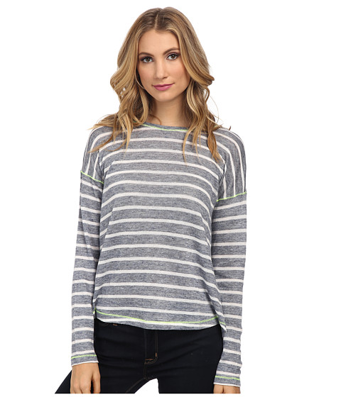 C&C California - Split Back Stripe Top (Dutch Blue) Women's Long Sleeve Pullover