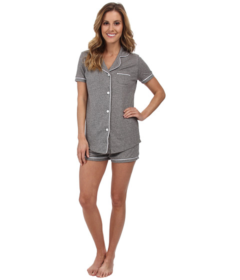 Cosabella - Bella PJ Textures Short Sleeve Top Boxer Set (Heather Gray/White) Women