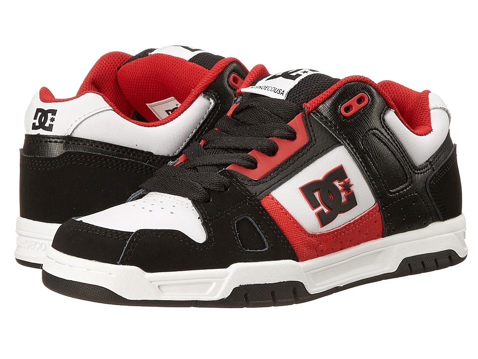 DC - Stag (Black/Red/White) Men's Skate Shoes