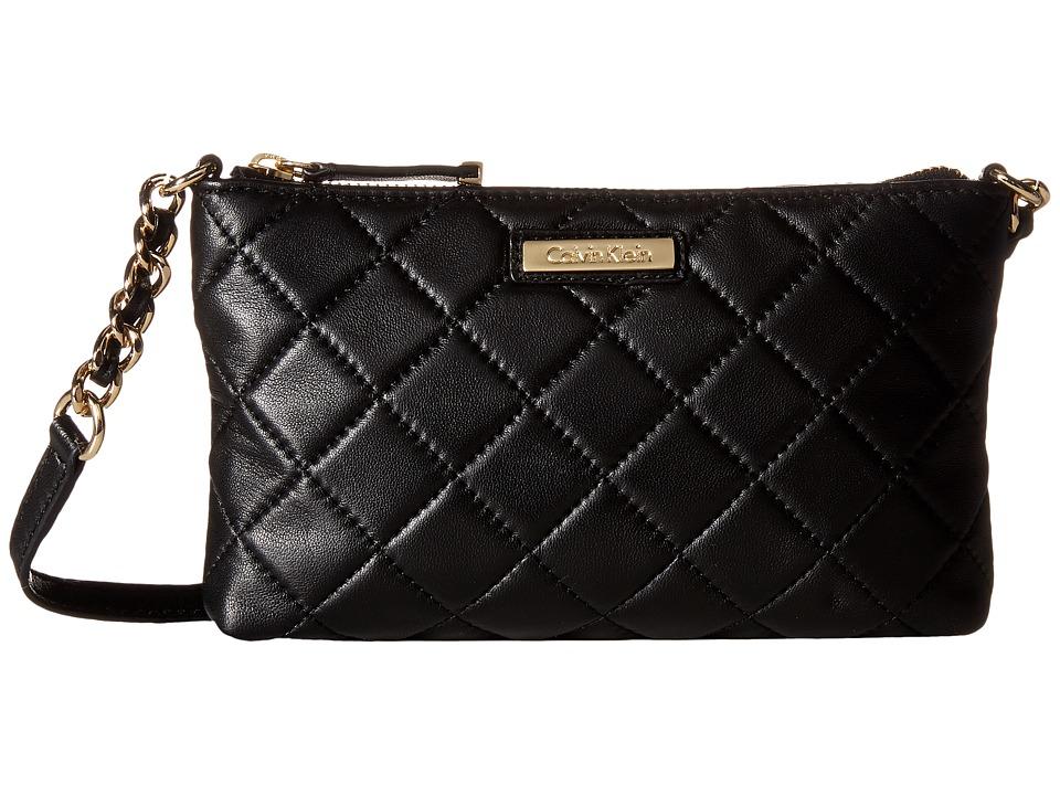 Calvin Klein - Lamb Zip Crossbody (Black/Gold) Cross Body Handbags