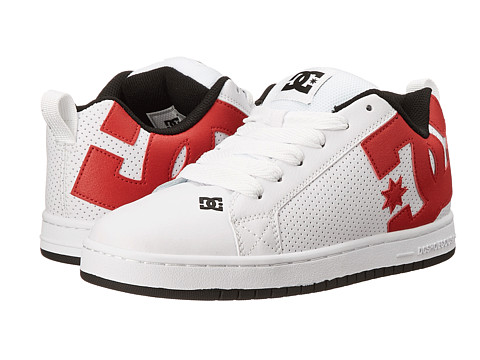 DC - Court Graffik (White/Red/Black) Men's Skate Shoes