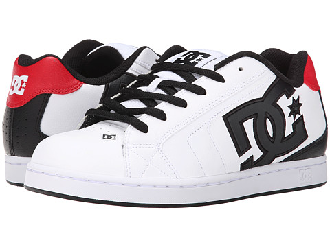 DC - Net (White/White/True Red) Men's Skate Shoes
