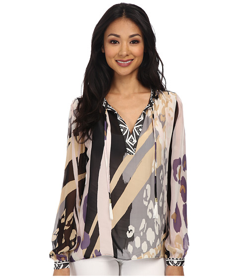 Hale Bob - Modern Animal Silk Blouse (Taupe) Women's Blouse