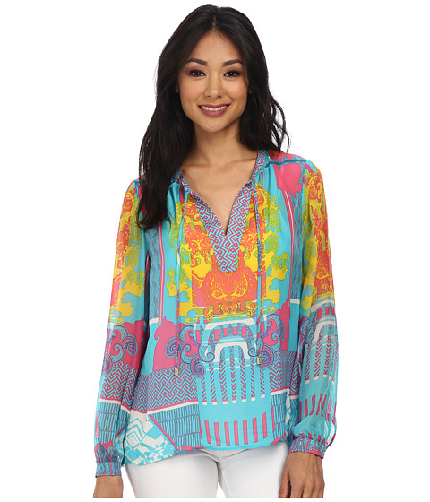 Hale Bob - Spring In The City Silk Long Sleeve Blouse (Turquoise) Women's Blouse