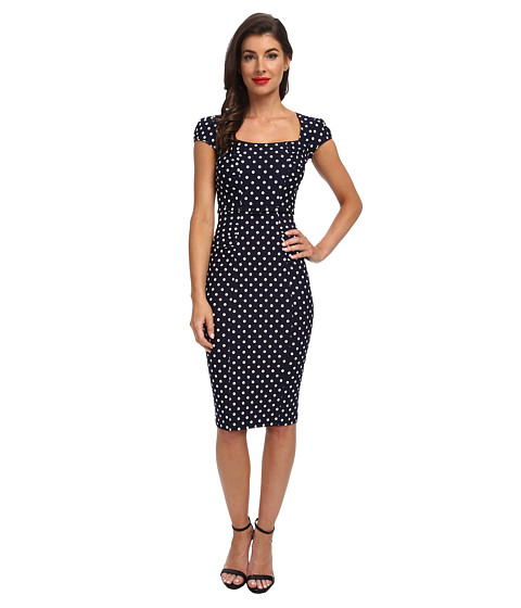 Stop Staring! - Celebrity Square Neck Shirred Front Dress (Navy w/White) Women's Dress