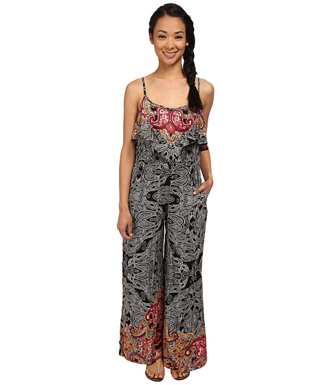 Angie - Ruffle Spaghetti Strap Jumpsuit (Black) Women's Jumpsuit & Rompers One Piece