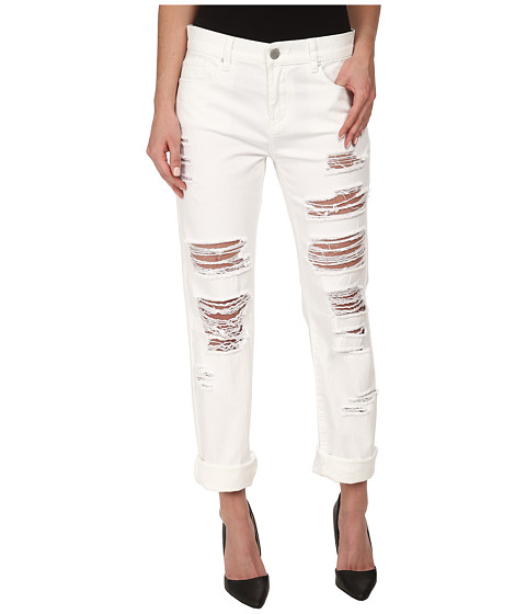 Blank NYC - White Relaxed Straight Ripped in As If (As If) Women