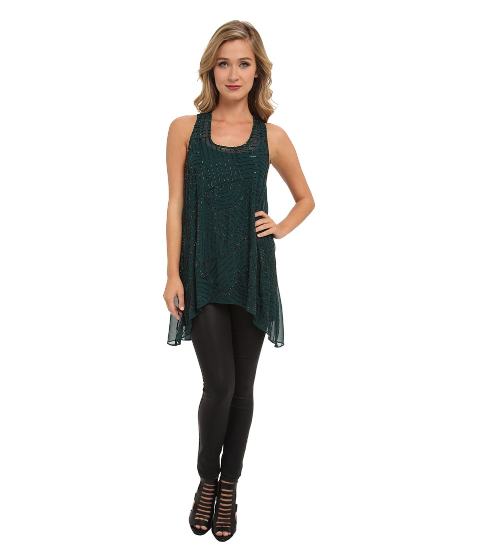 Angie - Sequin Hi-Lo Hem Dress (Emerald) Women