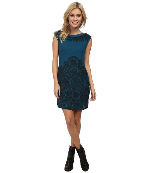 Angie - Boatneck Shift Knit Dress (Teal) Women's Dress