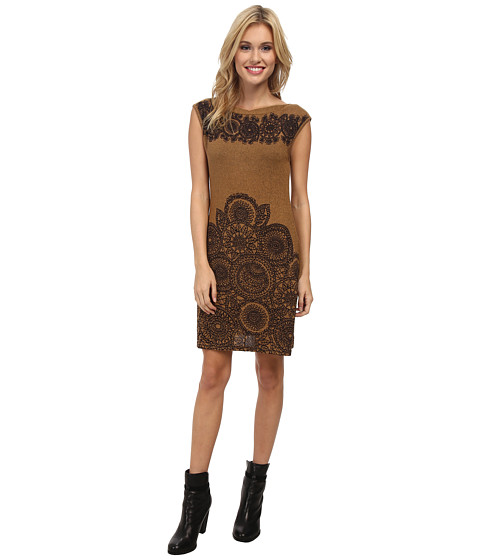 Angie - Boatneck Shift Knit Dress (Brown) Women's Dress