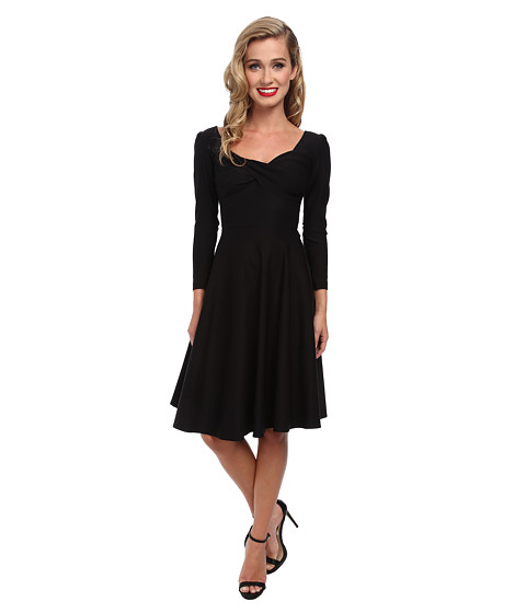Stop Staring! - Long Sleeve Shirred Dress (Black) Women's Dress